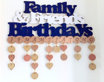 Birthday Reminder Calendar, Any Colour, Tag Calendar, Hanging Calendar, Tally Calendar, Birthday Plaque, Birthday Board, Mothers Day Gift