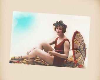 Art Deco Bathing Beauty New 4x6 Vintage Postcard Image Photo Print BB03
