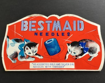 Vintage Bestmaid Needles pack, kitten & thread graphics, Made in Japan