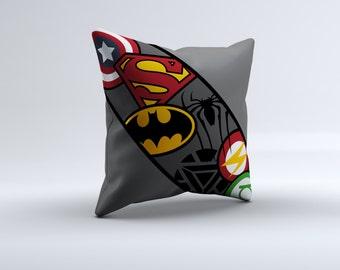 superhero logo throw pillow, superhero throw pillow, decorative pillow, 16x16, 18x18, 20x20,14x14, super hero throw pillow, superhero logo