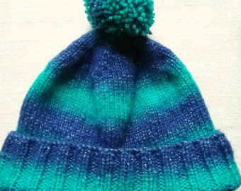 Blue green striped sparkle bobble hat, knitted hat, woolly hat, beanie, bobble hat, pom pom. Ready to ship