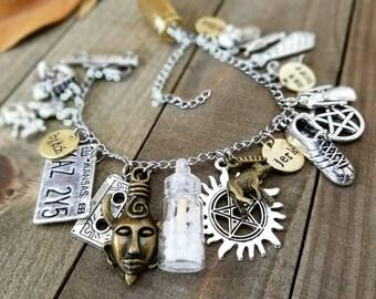 Supernatural bracelet - supernatural charm bracelet - supernatural jewelry - supernatural gifts - supernatural charms - supernatural bff