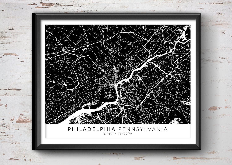 Philadelphia map with coordinates philadelphia map map art zoom freerunsca Gallery