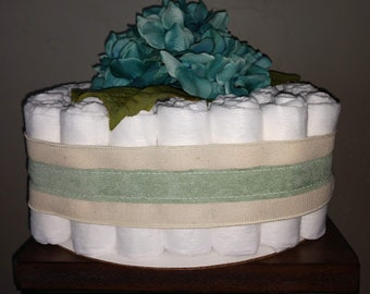 Teal Love, Square Diaper Cake, Pampers, Teal Floral, Pampers