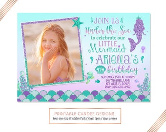 Under the Sea Mermaid Invitation Mermaid Birthday Invitation Teal Purple Mermaid Birthday Party Printable