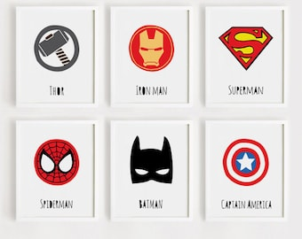 superhero printables Nursery wall art Set of 6 Kids room Poster Child room decor Baby boy print Digital print INSTANT DOWNLOAD