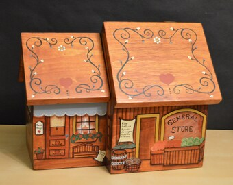 Vintage Folk Art Double Wood Canister, Bake Shop, General Store, Hand Painted, 2 Hinged Lids, 1982