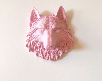 BABY SOFT PINK Small Wolf Head Faux Taxidermy animal head wall mount wolf wall art wall hanging mini wolf small animal head nursery kids
