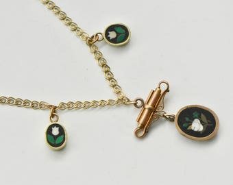Victorian Pietra Dura Gold Fill Necklace, 1880s necklace, Inlaid Mosaic Necklace