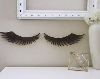 Wood Eyelashes Cutout/ Salon Decor/ Eyelashes girl decor