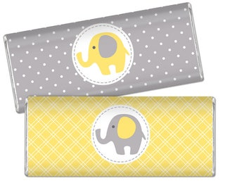 Elephant Chocolate Bar Wrappers - Yellow and Grey Chocolate Bar Wraps - Printable Baby Shower Favors - Gray DIY Large Candy Bar Labels