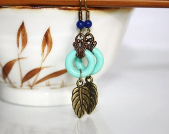Earrings * Turquoise antique gold Art Deco *.