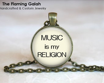 Music is My Religion Pendant • Music Quote • Musician • Music Teacher • Music Student • Gift Under 20 • Made in Australia (P1284)