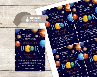 "Bring A Book Instead Of A Card Inserts: Outer Space Baby Shower Design - 4 (3.5"" x 5"") Cards on an 8.5"" x 11"" Page - Digital File"