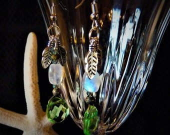 Green Quartz and Moon Stone Dangle Earrings