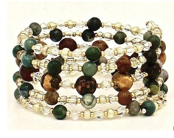 Semi-Precious Leopard Jasper & Rhodonite  Wrap-Around Bracelet