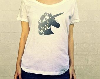 Wild and Free (Unicorn in Grey) // Ladies Womens Shirt, scoop neck, T-shirt, Illustration, Horse, Pegasus, Save the Unicorns, Lisa Barbero