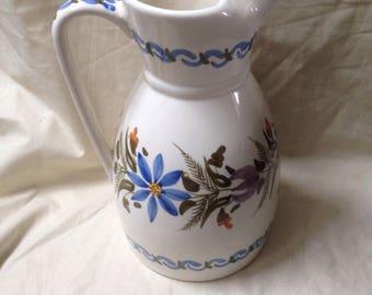 """11"""" Early 20th Century Wild flowers floral Jug / Vase - Water Jug - Large - Vintage"""