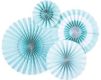Sky Blue Basic Party Fans - Party Paper Fans - Blue Party Decor - Paper Fan Backdrop - Blue Backdrop - Blue Pinwheel - Paper Rosettes PLCP04