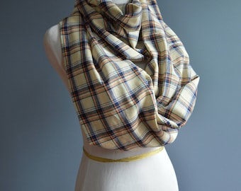 plaid scarf, infinity scarf, scarf