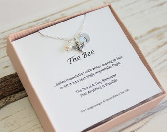 Sterling Silver Bee Necklace with Inspirational Sentiment