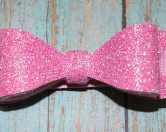Pink Glitter Felt Bow ~ Glitter Bow ~ Felt Bow ~ Hair Bow