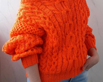Hand Knit Sweater, Women's Sweater, Knitted Pullover