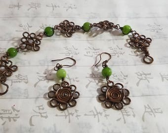Hand made copper and gem earrings and bracelet set