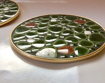 MCM 1970s Pebble Stone Trivets, Adorable AND Functional!