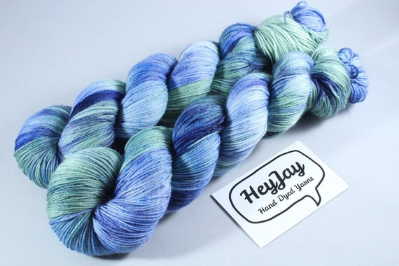 Hand Dyed Sock Yarn, 4ply Yarn, Superwash Merino - Rolling Down The River