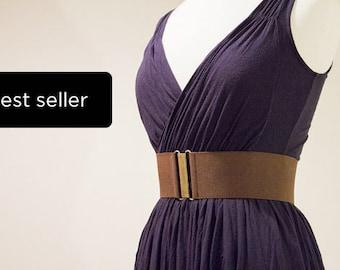 Wide brown elastic waist belt for women, handmade cinch belt for regular and plus sizes