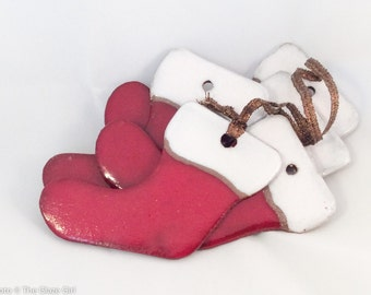 Sale: Stocking Ornament - Ceramic Ornament - Christmas Stocking Ornament