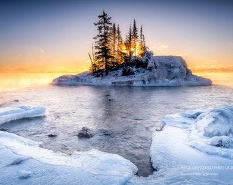 Lake Superior, Sunrise, Winter Landscape, Fog, Ice, Nature Photography, North Shore Minnesota, Fine Art Print, Blue White Yellow, Peaceful
