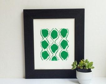 Modern LINOCUT in Hollywood Regency style in emerald green 8x10 poster