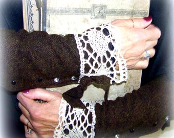 CHOIR PRActice, Arm warmers, wool fingerless cuffs, long cuffs, rhinestone buttons, studs,