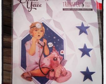 little girl and star. Decal stickers, fusible fabric.