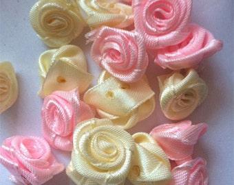 Wholesale bulk lot  200pcs pink ,  yellow  flower      applique Patch,n, DIY  applique  scrapbooking doll  wedding decor  2cm
