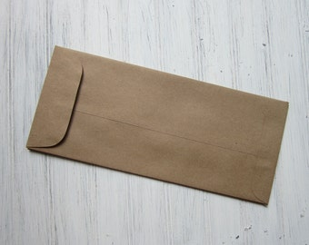 25 Kraft Policy Envelopes, No #10 Envelopes, Brown Bag Envelopes, Large Envelopes, Silverware Holder, DIY wedding envelopes