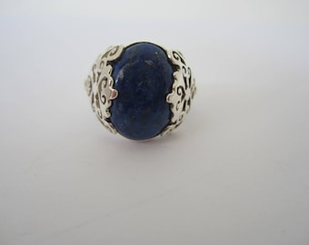Lapis Ring, Sterling Silver Ring, Cabochon Lapis, Blue Stone Ring