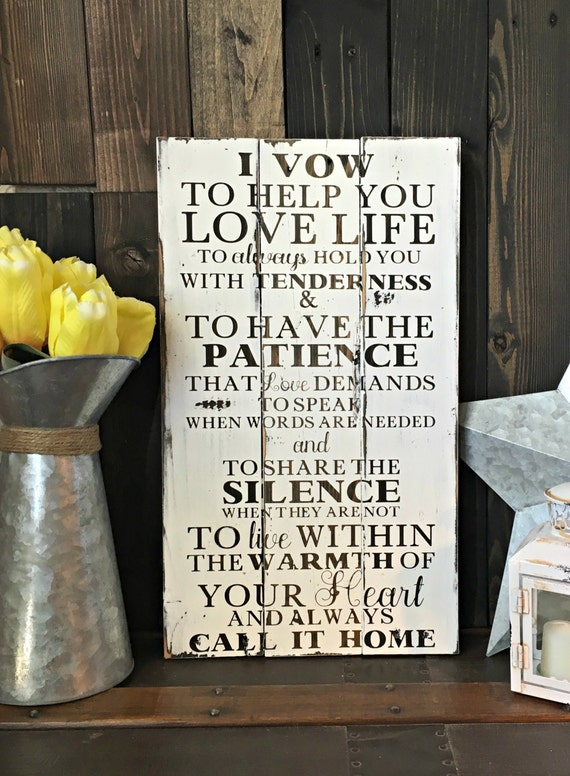 Wedding Vows Sign I Vow To Help You Love Life Wedding Sign