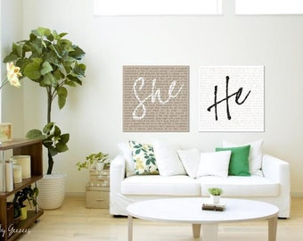She He Word Art Signange with your vows - Reception art describing Your Love and Story Custom Canvas-THIS listing is for TWO - 14x14's