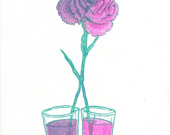 Dyed Carnation risograph art print