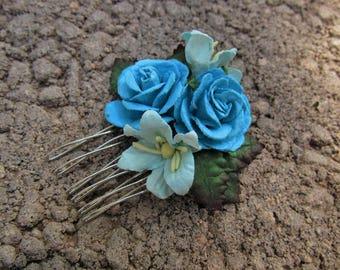 Blue Floral Hair Combs - Flower Hair Combs, Wedding Hair Comb, Flower Girl Hair Comb, Girl Hair Accessories, Hair Combs Blue, Mini Combs