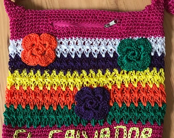 Crocheted purse handmade from El Salvador - with Flowers