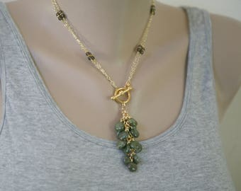 Green and Brown Dangling Gemstone Convertible Necklace, Front Closure, Cascading Gemstones, Short to Long Necklace