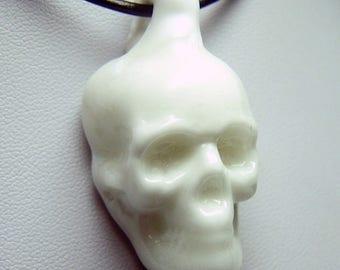 Bone white glass solid skull 3D pendant - handmade lampwork glass in porcelain effect slight second sale