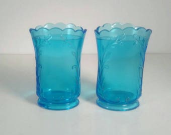 Vintage Set of 2 Matching Pressed Blue Glass Vases