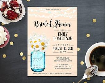 Bridal Shower Invitation Printable Daisy & Mason Jar - Creamy Bridal Brunch Invites Rustic Wedding Shower Bridal Tea Party INSTANT DOWNLOAD