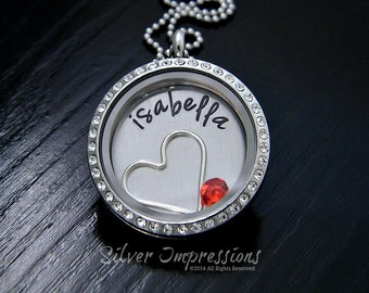 Personalized Floating  Locket  /  Memory Locket  / Hand Stamped Jewelry