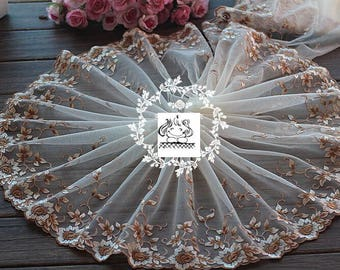 1.2Mx22cm high couture Ref Brown flower embroidered lace. 1719
